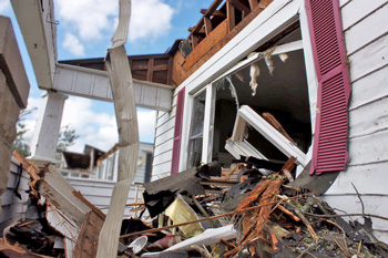 Broken house from disaster