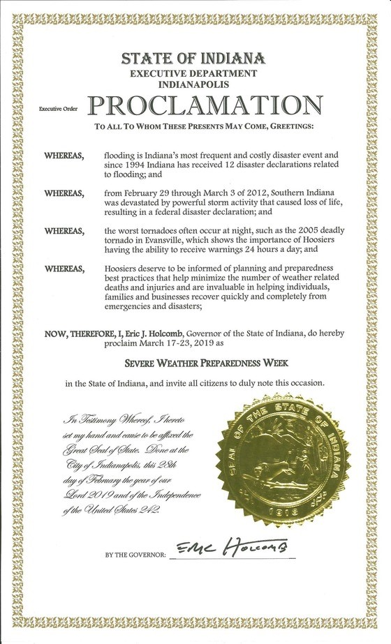 severe weather proclamation