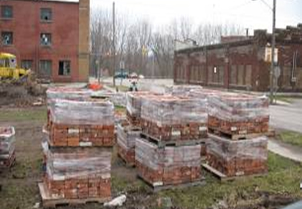 Building materials from the former Essex Wire site in Ligonier in the process of being recycled.